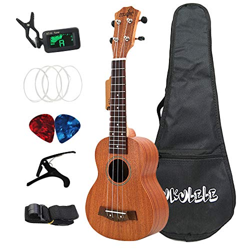 TOOGOO 21 Pulgadas de Ukelele Soprano Sapele 15 Trastes Hawaii Kits Completos Guitarra Ukelele para Ni?Os Principiantes