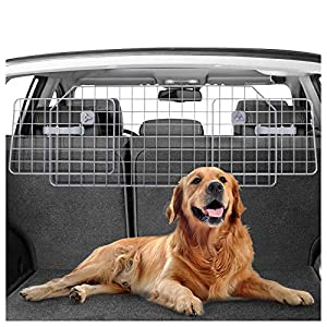 rabbitgoo Dog Car Barrier for SUVs, Van, Vehicles – Adjustable Large Pet SUV Barriers Universal-Fit, Heavy-Duty Wire Mesh Dog Car Guard,SUV Pet Car Gate for Vehicles,Safety Car Divider for Dogs,Silver