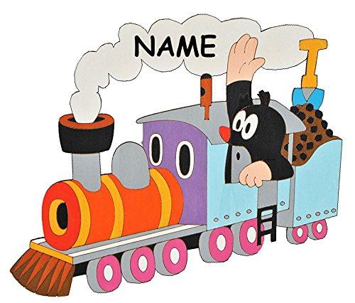 alles-meine.de GmbH Der kleine Maulwurf - Pauli - in der Bahn  - incl. Name - Türschild / Wandbild / Wandtattoo - aus Holz - Kinderzimmer Eisenbahn Zug Deko Bilder / selbstkle..