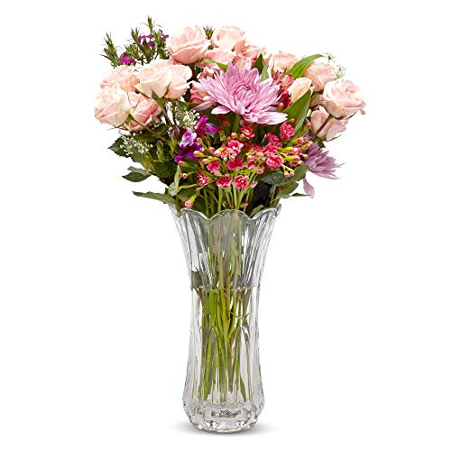 """Crystal Flower Vase, Tall Glass Bouquet Holder, Glass Vases For Decor, Clear Flower Vase for Floral Arrangements, Centerpieces, Weddings, Housewarming, Kitchen & Home 11.25"""" x 4"""" -Flowers Not Included"""