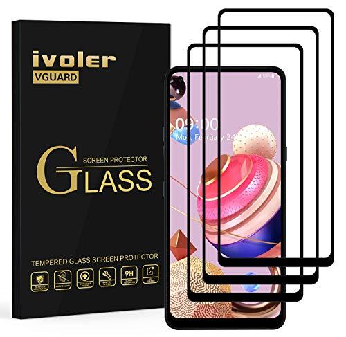 ivoler 3 Stücke Panzerglas Schutzfolie für LG K51S, [Volle Bedeckung] Panzerglasfolie Folie Hartglas Gehärtetem Glas DisplayPanzerglas für LG K51S
