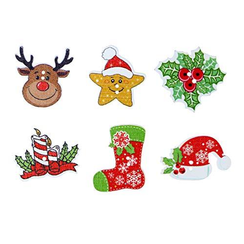 SUPVOX Bottoni in Legno Bottoni Legno Natale Forma Renna Cappello di Babbo Natale Campanelle Natalizie Poinsettias Bottoni Decorativi per Bambini 50 Pezzi