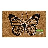 JVL Eco-Friendly Animal Latex Backed Coir Entrance Door Mat, Butterfly Design