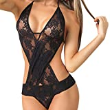 YEBIRAL Women Tentation Sexy Cou accrochant Lingerie Lace Teddy Features Plunging Eyelash and Snaps Crotch (Taille Unique, Noir)