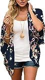 JFAN Mujer Chal Flojo Cárdigan Kimono Florales Caftán de Playa Blusa de Gasa Boho con Estampado Floral Ahumado Blusa Floral Suelta Casual(Azul Marino Floral,XL)