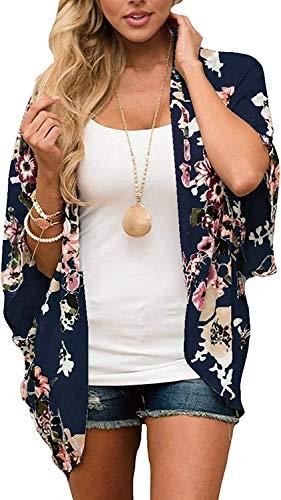 JFAN Mujer Chal Flojo Cárdigan Kimono Florales Caftán de Playa Blusa de Gasa Boho con Estampado Floral Ahumado Blusa Floral Suelta Casual(Azul Marino Floral,L)