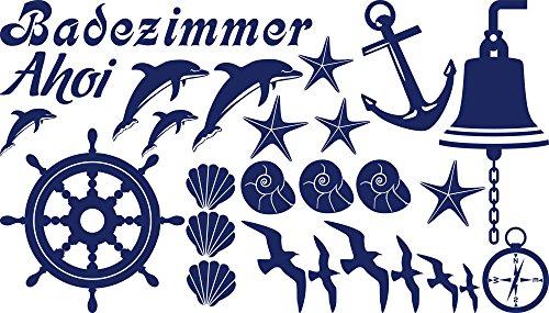 GRAZDesign Wandtattoo Bad Badezimmer WC Muscheln Delfine, Fliesentattoo AHOI Steuerrad Anker Möwe, Wandtattoo Badezimmer Maritime Deko / 100x57cm 049 königsblau