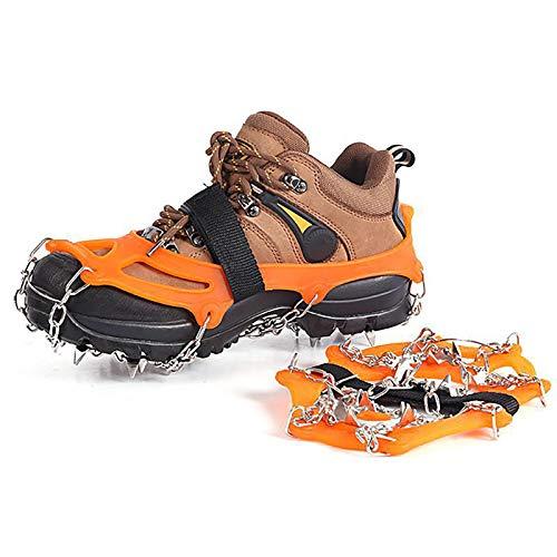 Garnas de Zapatos con 19 Dientes de Acero Inoxidable, Pinturas de Hielo, Cadena de Nieve, más Grandes y espigas para Escalar montañismo Trekking High Altura Invierno al Aire Libre,Naranja,XL
