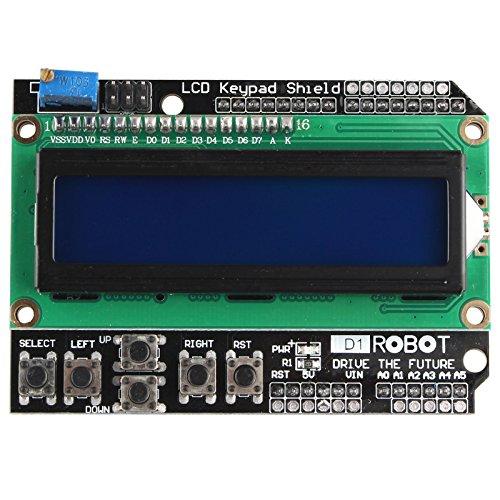 HALJIA 1602 Módulo de Pantalla LCD con Teclas Teclado LCD Teclado Panel de protección Compatible con Arduino UNO R3 MEGA2560 Nano