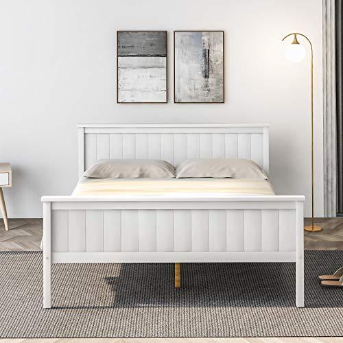 Betos Sängram i trä med sänggavel och fotbräda, säng i furu för barn sovrum, elfenben