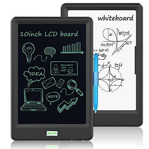 NEWYES LCD Schreibtafel 10 Zoll , Zeichenbrett Elektronisch Gekritzel Digitaler Ewriter mit Hellerer Bildschirm Doppelseitiger Bildschirm Schlüssel sperren für Kinder Familie Büro(Schwarz)