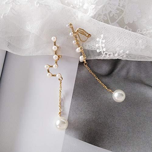 Chwewxi Pendientes de Constelaciones de Moda Japonesa y Coreana Pendientes Simples Colgantes de Perlas Largos Salvajes Pendientes de Clip, Modelos de Clip de Oreja