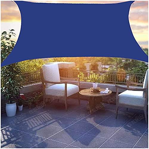 HJXX Toldo de vela rectangular / cuadrada impermeable, toldo para patio, impermeable, cubierta de bloque UV para exteriores, cochera, jardín, 4 x 5 m, color azul