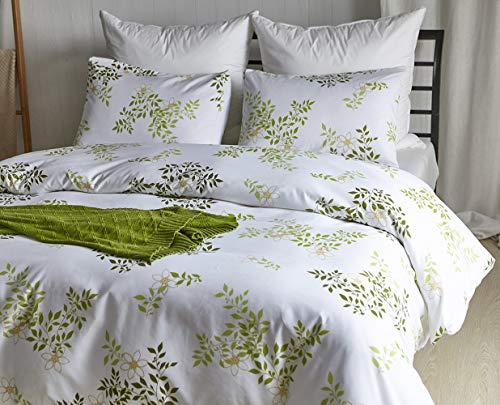 Omela Botanical Duvet Cover King Size Green Leaf on White Patterned Floral Bedding Set Brushed Microfiber (HL,K)