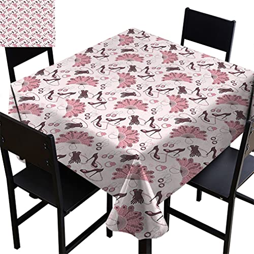 Vintage Tablecloths, Women Fashion Theme Old Fashioned Accessories Gloves Shoes Peacock Feather Earrings Fabric Table Cloth for Restaurant Banquet, 70' x 70' Pale Pink