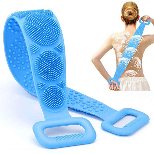 SARI Silicone Body Shower Brush, Back Scrubber, Exfoliating Long Body Brush (70 cm/27.5 Inch), Double Side Massage Scrub Belt, Easy to Clean, Eco Friendly
