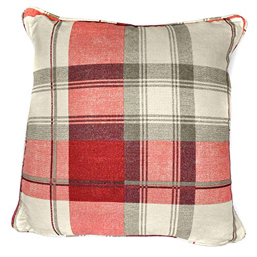Fusion - Balmoral Check - 100% Cotton Filled Cushion - 43x43 cm in Ruby