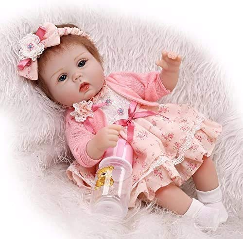 Pinky Lovely Soft Silicone Vinyl 17' 43cm Baby Doll Real Life Like Reborn...