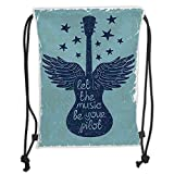 Drawstring Sack Backpacks Bags,Music Decor,Let The Music Be Your Pilot Quote Winged Electronic Guitar and Stars Retro Graphic Print,Dark Blue Soft Satini,Adjustable.