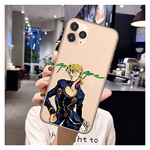 KAZOKUYiZi Anime Jojos Bizarre Adventure Funda telefónica para iPhone 12 Pro Cubierta de Silicona de Dibujos Animados para iPhone 11 Pro MAX SE 6 6s 7 8 Plus x XR XS