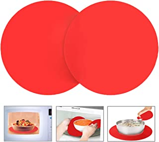 Silicone Microwave Mat 12 Inch, Non Stick Turntable Mat for Kitchen, BPA Free Multi-Purpose Heat Resistant Oven Mat 2 Pack