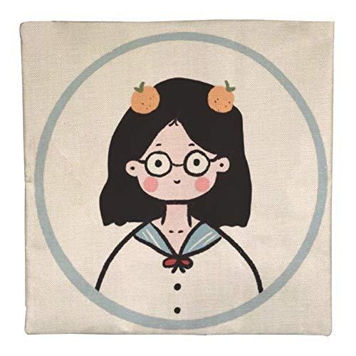 DKE&YMQ Funda de almohada de lino individual, mejilla, diseño de círculos de dibujos animados animados