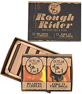 The Rough Rider Soap Set: Two Handmade Western-themed Soaps and a Soap Dish