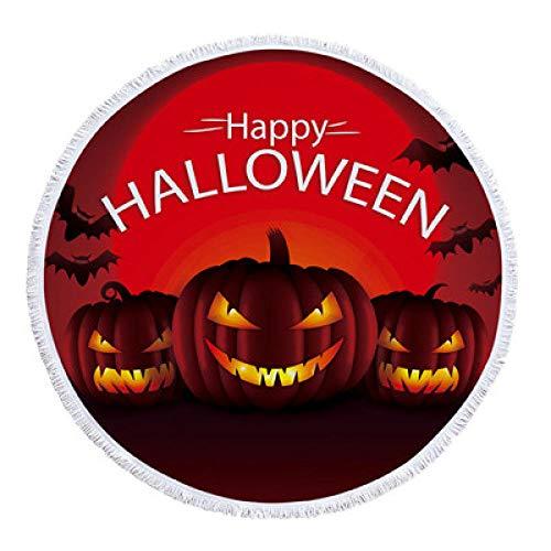 SDFGS Happy Halloween Runde Handtuch Teufel Kürbis Strandtuch Cartoon Mumie Yoga Matte weiche Picknickdecke Bettdecke