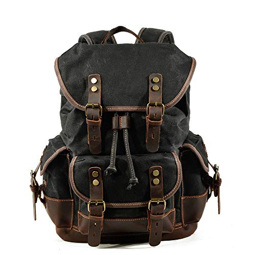 Sebasty Black Outdoor Backpack, Leisure Student Bag, Large Capacity Backpack, Leather Mountaineering Bag With Canvas Splicing (32 * 15 * 45cm)