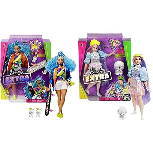Barbie Extra Muñeca Articulada con Pelo Azul Rizado, Accesorios De Moda Y Mascotas (Mattel Grn30) + Extra Muñeca con Pelo Rosado Y Violeta Incluye Mascota Y Accesorios (Mattel Gvr05)