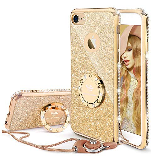 OCYCLONE Cute iPhone 6s Case, Cute iPhone 6 Case, Glitter Luxury Bling Diamond Rhinestone Bumper with Ring Grip Kickstand Protective Thin Girly Gold iPhone 6s Case/iPhone 6 Case for Women Girl - Gold