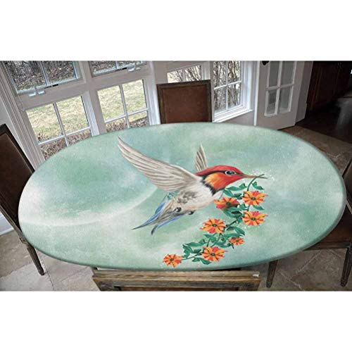LCGGDB Elastic Polyester Fitted Table Cover,A Hummingbird is Flying with A Flowered Branch Floral Nature Illustration Decorative Oblong/Oval Elastic Fitted Tablecloth,Fits Tables up to 48' W x 68' L