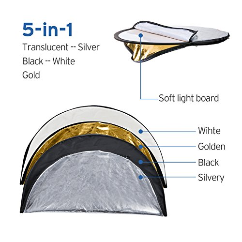 Etekcity 24' (60cm) 5-in-1 Photography Reflector Light Reflectors for Photography...