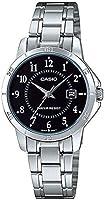ساعة يد بسوار ستانلس ستيل بمينا لون اسود للسيدات من كاسيو - LTP-V004D-1B