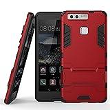 Huawei P9 Funda, MHHQ 2in1 Armadura Combinación A Prueba de Choques Heavy Duty Escudo Cáscara Dura PC + Suave TPU Silicona Rubber Case Cover con soporte para Huawei P9 -Red
