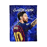 Custom Lionel Messi Barcelona FC Fleece and Sherpa Throw Blankets Personalized Barca Messi Blanket Warm Lightweight Snuggle Men Women Kids Soccer Apparel Gifts