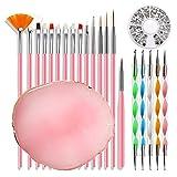 TSBB DIY Nail Art Design Tools Set de decoración Kit de manicura con lápices de uñas Bolígrafos de Cristal Paleta Rosa Disco de Diamantes de imitación