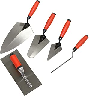 WEDGE: 5 Piece Professional Masonry Trowel Set - Tempered Steel Blades
