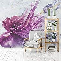 3D壁画カスタム壁紙現代抽象水彩スモークラインローズ壁絵画リビングルームの寝室の背景の壁の装飾-250x175cm