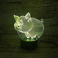 3DイリュージョンLEDナイトライト3Dテーブルランプかわいい豚LEDUSBタッチセンサー装飾ライト7色RGB子供Sおもちゃ寝室の装飾