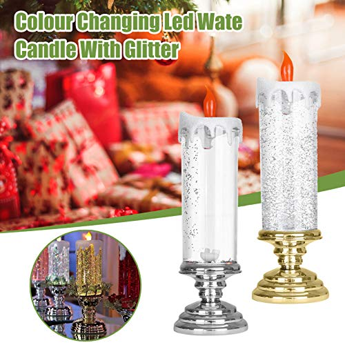 Electronic Christmas Candle LED Flameless Glitter Candle Colour Changing Water Candle Rechargeable Waterproof Realistic Dancing Flickering Wick Desk Table Lamp Decor Xmas Ornament