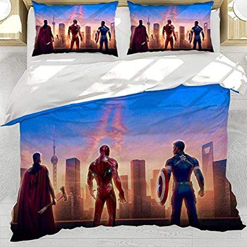 QWAS Juego de ropa de cama de los Vengadores de Marvel con impresión 3D de Iron Man, Spiderman (3 piezas) (V01,135 x 200 cm + 50 x 75 cm x 2)