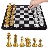 Tablero Juego de tablero de ajedrez, conjunto de ajedrez de viaje magnético, tablero de ajedrez plegable, tablero de juego de plástico y piezas de ajedrez de plástico, 2 reinas adicionales, pulgadas p