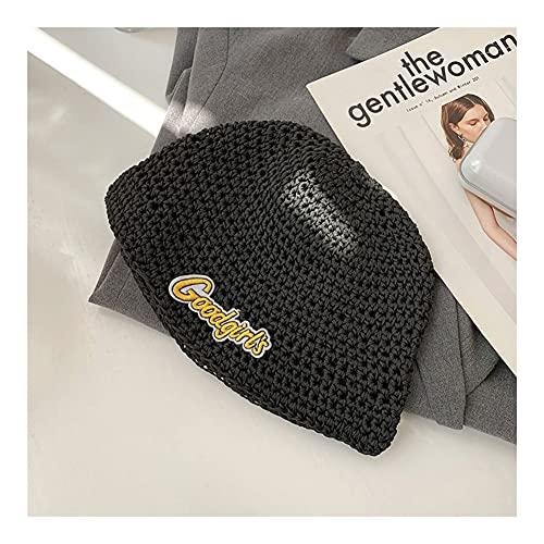 JJH Sombrero de Gorro de Punto Decorativo for Mujeres,Hip Hop Fashion Fishman Sombreros Gorros Accesorios de Moda for Primavera Otoño 2021 (Color : Black, tamaño : Women)