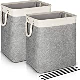 2-Pack Laundry Basket with Strong Handles,Collapsible Linen Laundry Hampers Built-in Lining with Detachable Brackets Well-Holding Large Laundry Hamper for Bathroom Bedroom Dorm-Gray