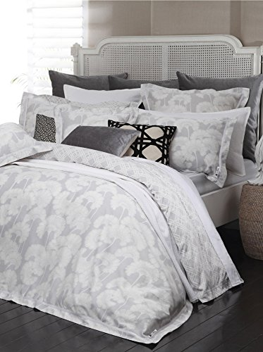 Surya 68-Inch by 86-Inch Florence Broadhurst Japanesen Floral Duvet Bedding Set, Twin, Light Gray/Ivory