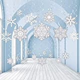 30 Pieces Snowflake Foil Swirl Decorations Winter Christmas Swirls Snowflake Ceiling Hanging Swirls Decorations for Frozen Theme Party Winter Party Xmas New Year Holiday Party Decorations