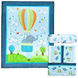 Cocoon Luxurious Elephant Baby Crib Bedding Sets for Boys - Let Your Little One Sleep Like an Angel - Nursery Set Including Fitted Sheet, Comforter & Crib Skirt (Set of 3)