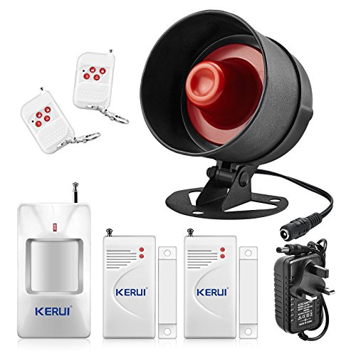 The Newest KERUI Standalone Home Shop Security Alarm Garage Alarm,Shed Alarm System Kit,Wireless Weatherproof Siren Horn with Remote Control Door Contact Sensor,Motion Sensor,Loud Up to 115db