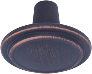 Amazon Basics Straight Top Ring Cabinet Knob, 1.25-inch Diameter, Oil Rubbed Bronze, 10-Pack